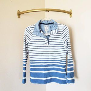 Joules 1/4 Button Pullover Chambray Stripe Blue 2